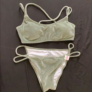 Olive green suede swim suit very soft material
